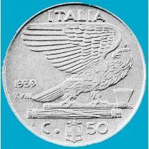 Италия 50 чентезимо 1939 год. XVIII. Немагнитная.