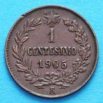 Италия 1 чентезимо 1905 год.