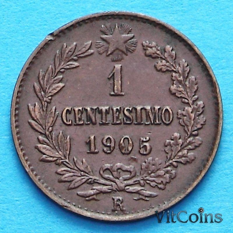 Монета Италии 1 чентезимо 1905 год.