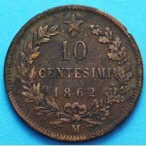 Италия 10 чентезимо 1862 год. М