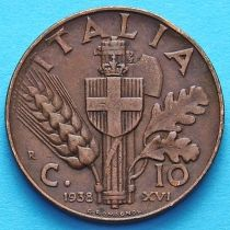 Италия 10 чентезимо 1937-1939 год. Медь.