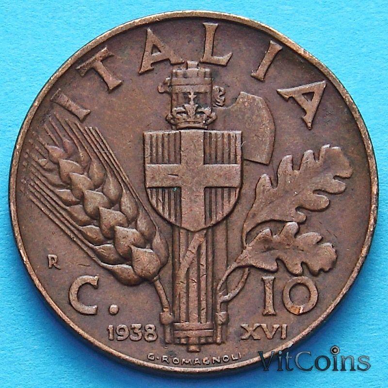 Монета Италии 10 чентезимо 1937-1939 год. Медь.