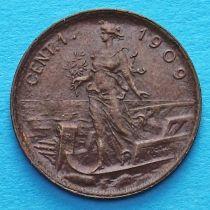 Италия 1 чентезимо 1909 год.