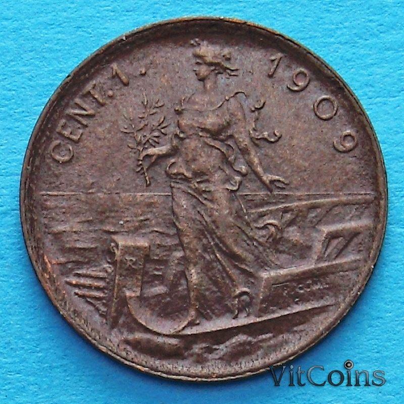Монета Италии 1 чентезимо 1909 год.