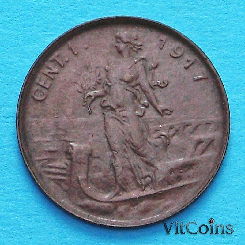 Монета Италии 1 чентезимо 1917 год.