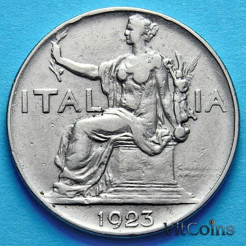 Монета Италии 1 лира 1923 год.