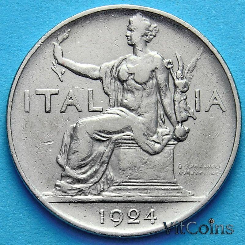 Монета Италии 1 лира 1924год.