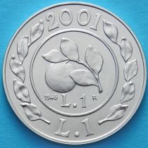 Италия 1 лира 2001 год. История лиры -лира 1946. Серебро.