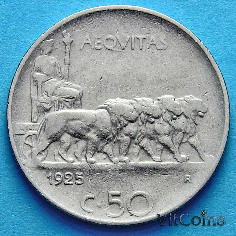 Монета Италии 50 чентезимо 1925 год. Магнитная.