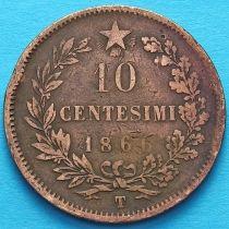 Италия 10 чентезимо 1866 год. Т.