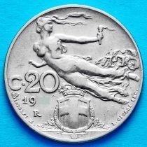 Италия 20 чентезимо 1908 год.