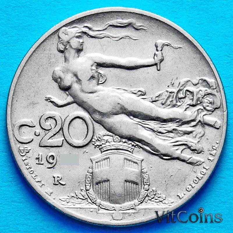 Монета Италия 20 чентезимо 1913 год.
