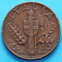 Италия 10 чентезимо 1939 год. Медь.