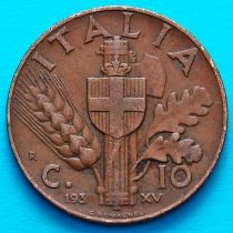 Италия 10 чентезимо 1937 год. Медь.