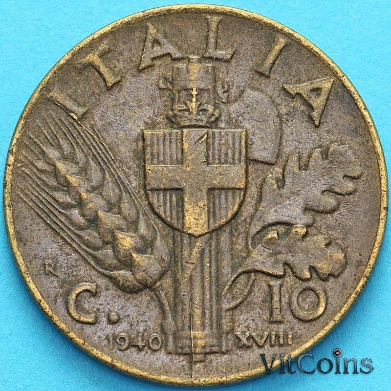 Монета Италия 10 чентезимо 1940 год.