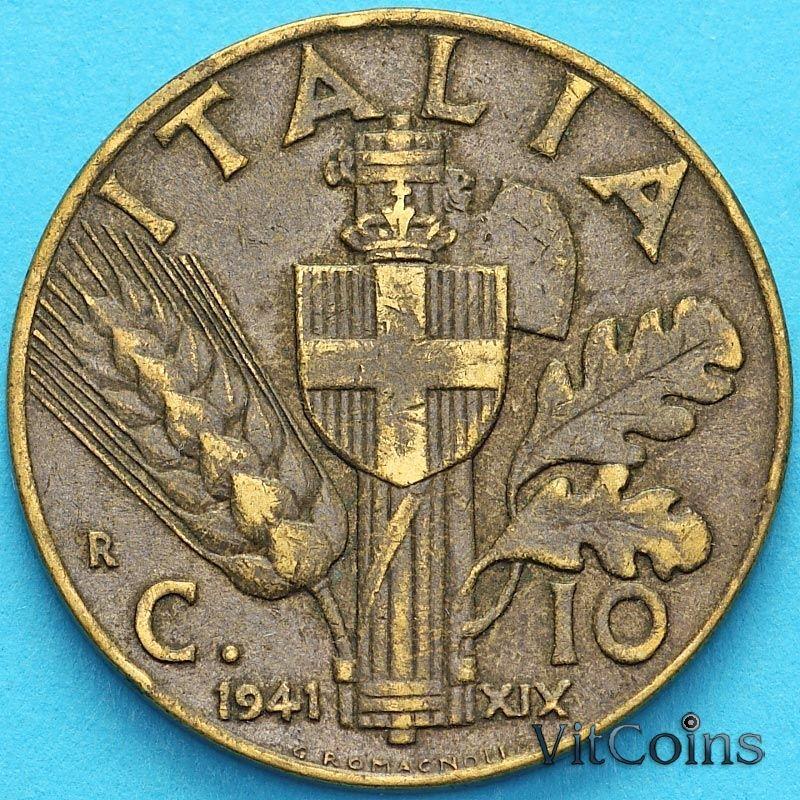 Монета Италия 10 чентезимо 1941 год.
