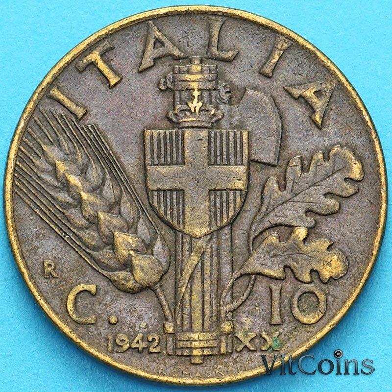Монета Италия 10 чентезимо 1942 год.