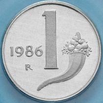 Италия 1 лира 1986 год. Рог изобилия. Пруф.