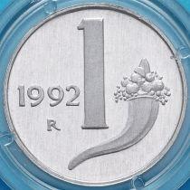 Италия 1 лира 1992 год. Рог изобилия. Пруф.