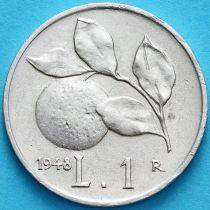 Италия 1 лира 1948 год. Апельсиновая ветвь.