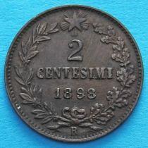Италия 2 чентезимо 1898 год.
