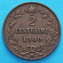 Италия 2 чентезимо 1900 год.