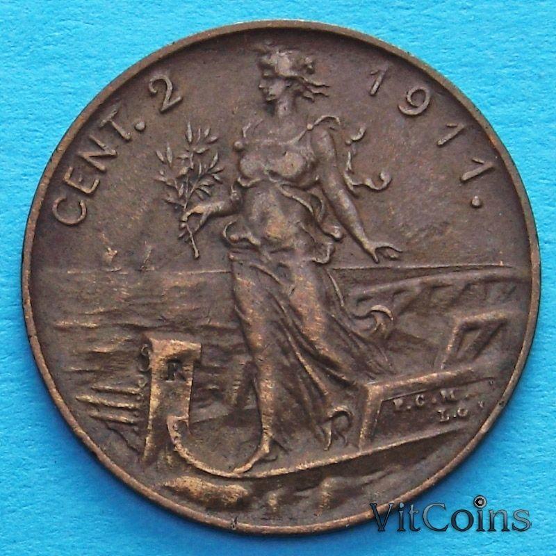 Монета Италии 2 чентезимо 1911 год.