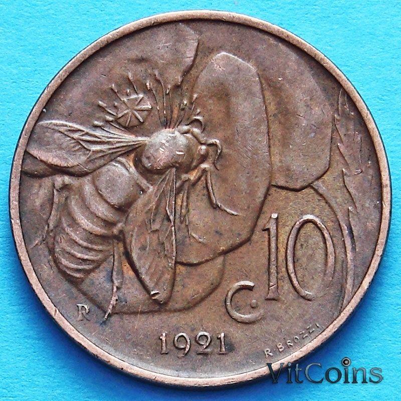 Монета Италии 10 чентезимо 1921 год.