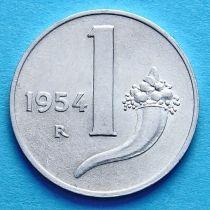 Италия 1 лира 1954 год. Рог изобилия