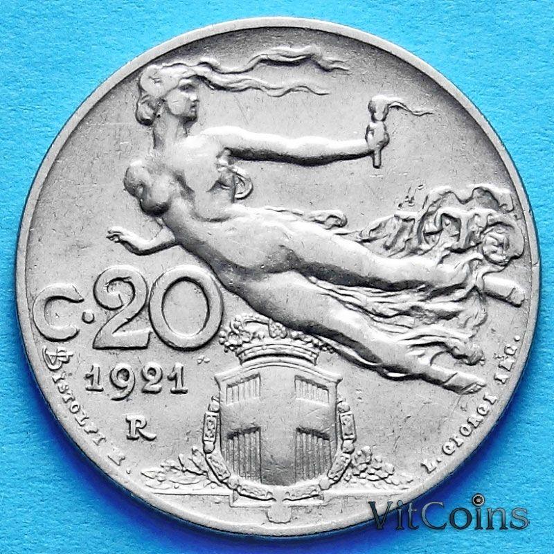 Монета Италии 20 чентезимо 1908-1922 год.