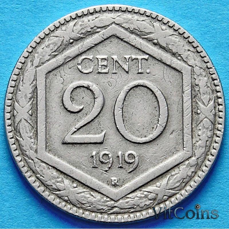 Монета Италии 20 чентезимо 1919 год. Новый тип. Гладкий гурт.