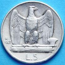 Италия 5 лир 1927 год. Серебро.