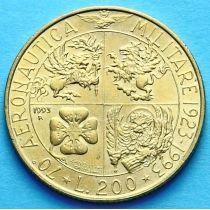 Италия 200 лир 1993 год. 70 лет Военной авиации.