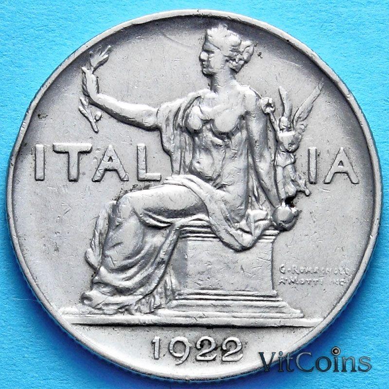 Монета Италии 1 лира 1922 год.