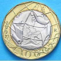 Италия 1000 лир 1997 год. Европейский союз, ошибка.