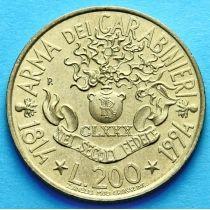Италия 200 лир 1994 год. 180 лет Карабинерам.