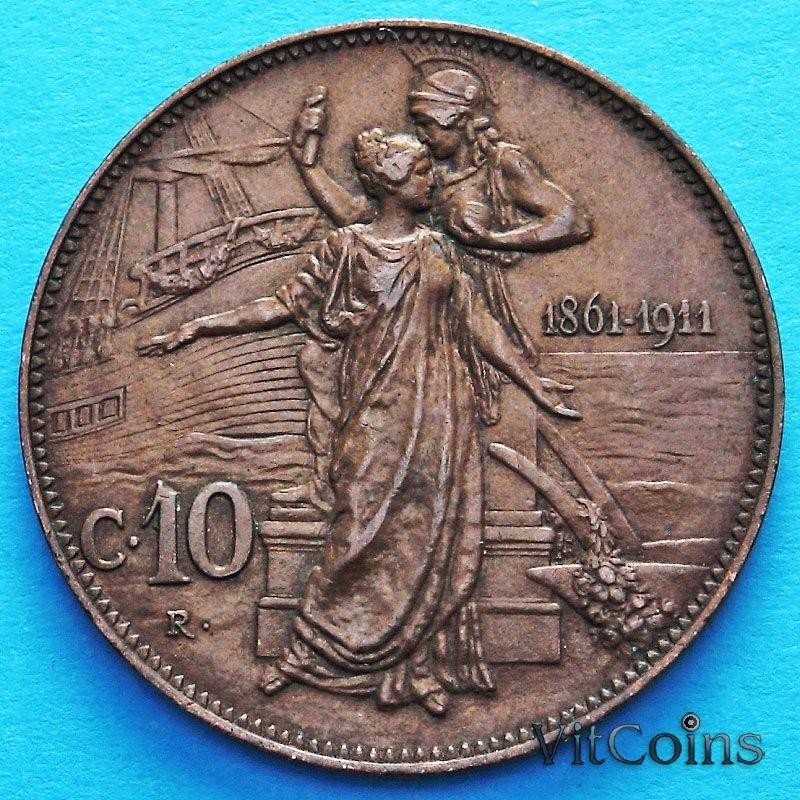 Монета Италии 10 чентезимо 1911 год. 50 лет Королевству.