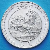 Италия 1 лира 1999 год. История лиры - 1915. Серебро.