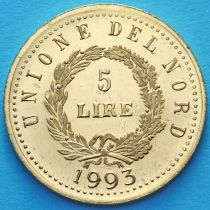 Италия. Венета 5 лир 1993 год. Малая. Позолота.