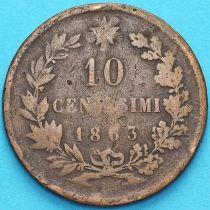 Италия 10 чентезимо 1863 год.