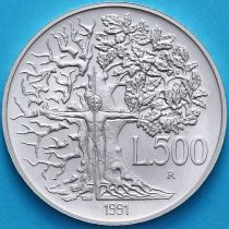 Италия 500 лир 1991 год. Флора и фауна. Серебро.
