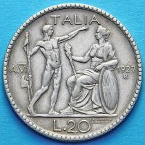 Италия 20 лир 1927 год. Серебро.