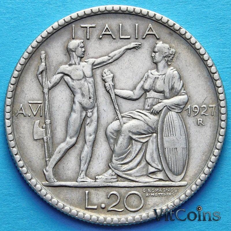 Монета Италии 20 лир 1927 год. Серебро.