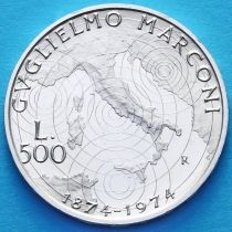 Италия 500 лир 1974 год. Гульельмо  Маркони. Серебро.