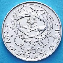 Италия 500 лир 1988 год. Олимпиада в Сеуле. Серебро.