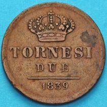 Италия, Сицилия 2 торнези 1839 год.