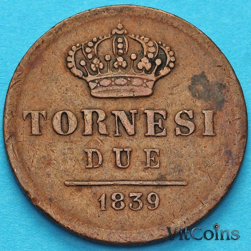 Монета Сицилия 2 торнези 1839 год.