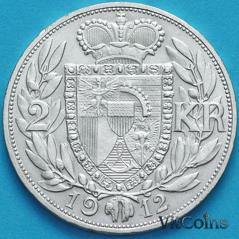 Монета Лихтенштейн 2 кроны 1912 год. Серебро.
