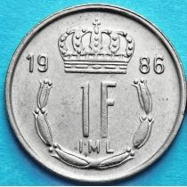 Люксембург 1 франк 1986-1987 год. Великий Герцог Жан.