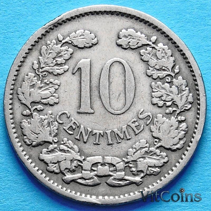 Монета Люксембурга 10 сантим 1901 год.